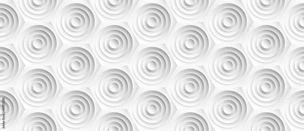 Volume realistic embossing texture, circles сut in honeycomb, white background, 3d geometric seamless pattern, design vector wallpaper