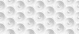 Fototapeta Abstrakcje - Volume realistic embossing texture, circles сut in honeycomb, white background, 3d geometric seamless pattern, design vector wallpaper