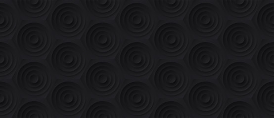 Panel SzklanyVolume realistic embossing texture, circles сut in honeycomb, black background, 3d geometric seamless pattern, design vector dark wallpaper