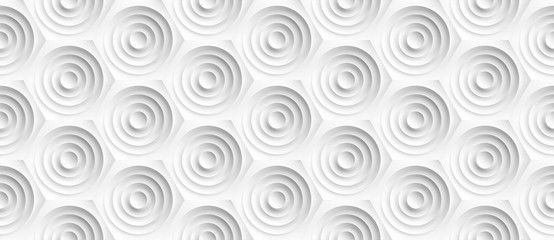 Panel SzklanyVolume realistic embossing texture, circles сut in honeycomb, white background, 3d geometric seamless pattern, design vector wallpaper