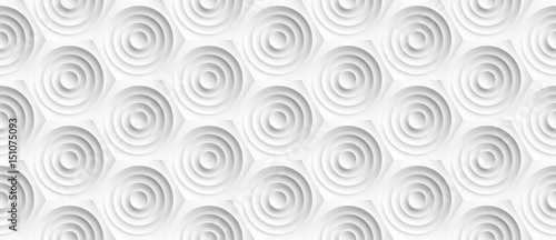 Volume realistic embossing texture, circles сut in honeycomb, white background, Slika na platnu