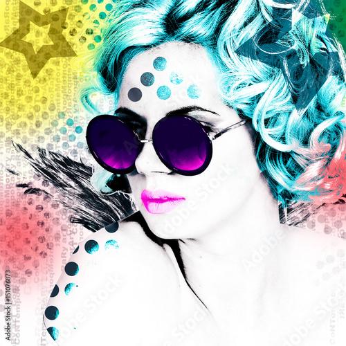 stylowy-plakat-z-portretem-ladnej-dziewczyny-w-okraglych-okularach-nowoczesna-interpretacja-stylu