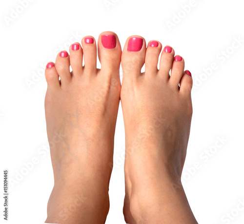 Poster Pedicure Beautiful feet with perfect spa nail pedicure on white background