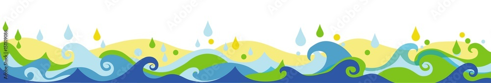 Sea Colors Waves Drops illustration