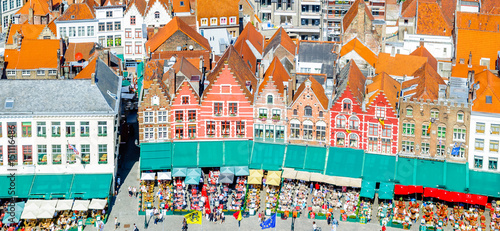 Wall Murals Bridges View on historical buildings on Market Square in Belgium