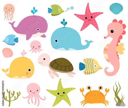 Fototapeta premium Śliczne zwierzęta morskie do scrapbookingu, prysznice dla dzieci i letnie projekty