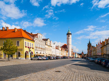 Peace Square With White Tower Of Domazlice On Sunny Day, Czech Republic.