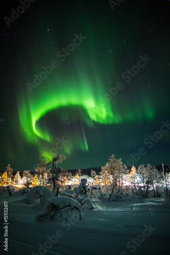 Fotografia, Obraz  Aurora borealis (northern lights) in Lapland, Finland.