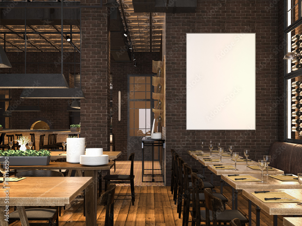 Fototapeta Interior of the restaurant with blank canvas. 3d rendering
