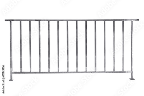Leinwand Poster Stainless steel railing isolated on white, with clipping path.