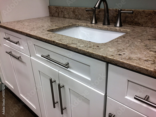 White Bathroom Cabinets With Granite Counter Sink Faucet