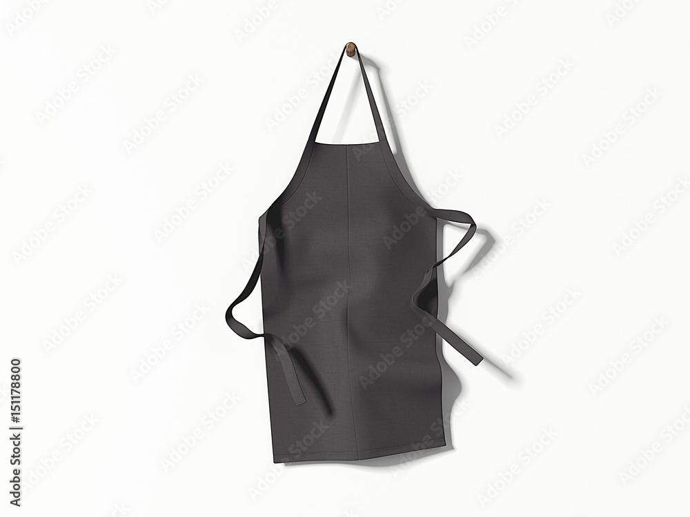 Fototapeta Black blank apron hanging. 3d rendering