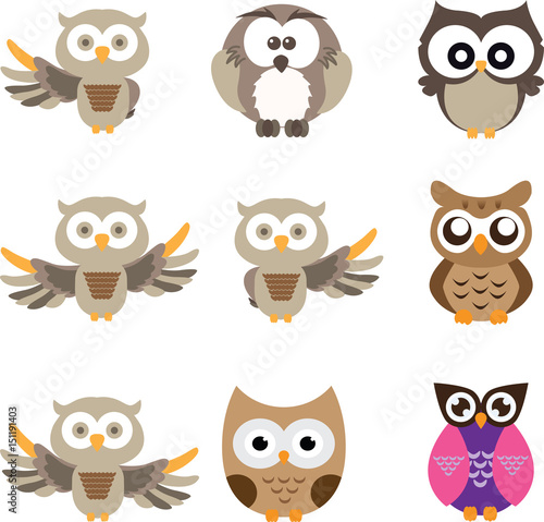 Photo Stands Owls cartoon owl cute in isolate background