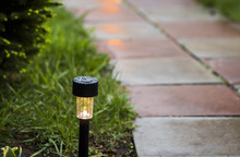 Garden LED Light On A Green La...