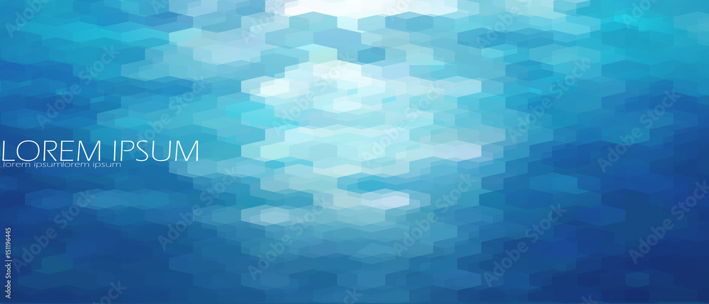Fototapety, obrazy: Blue aqua water sea background template. Underwater abstract geometric view ripple wave shining light ocean vector banner
