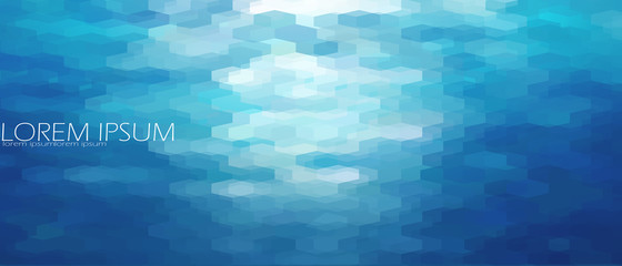 Blue aqua water sea background template. Underwater abstract geometric view ripple wave shining light ocean vector banner