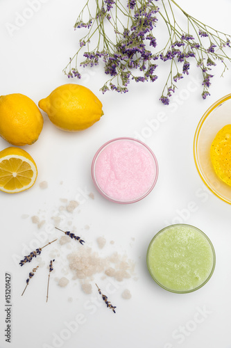 Fotografie, Obraz  Close-up view of ingredients for homemade cosmetics isolated on white