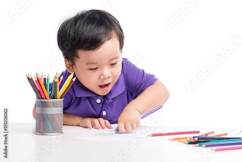 portrait-of-cheerful-boy-drawing