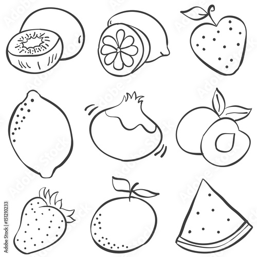 Hand Draw Fruits Of Doodles Buy This Stock Vector And Explore
