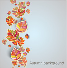 Autumn Seamless Ornament With Leaves And Acorns. Vector Illustration