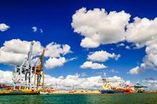 View On Cargo Cranes In Port Of Antwerp In Belgium