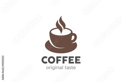Filiżanka kawy Logo szablon wektor wzór Styl negatywnej przestrzeni. Gorące napoje Cafe Logotyp ikona koncepcja.