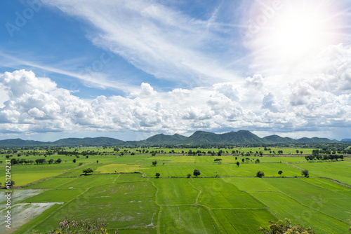 Foto op Aluminium Rijstvelden Terrace rice fields mountain view on blue sky with Cloud in Kanchanaburi, Thailand