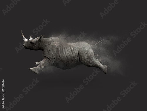 Naklejka premium A Rhino moving and jumping with dust particle effect on gray background, 3d illustration