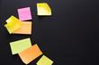 Color notes on black board, copy space
