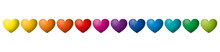 Twelve Rainbow Colored Hearts ...