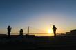 明石海峡大橋 夕日とシルエット