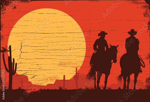 Fotografia, Obraz Silhouette of Cowboy Couple riding horses on a wooden sign, vector