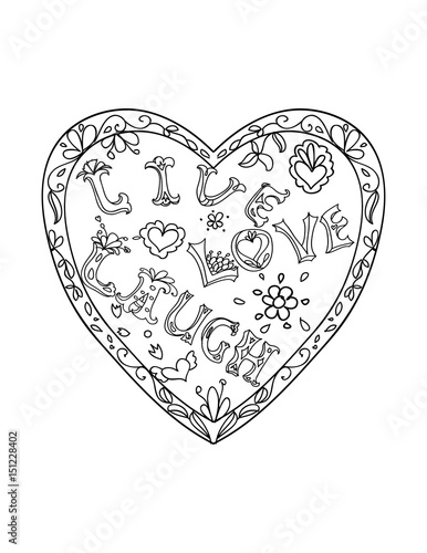 Decorative Coloring page with heart shaped frame live love laugh black and white Poster