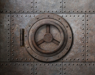 Fototapeta Rusty metal safe door 3d illustration