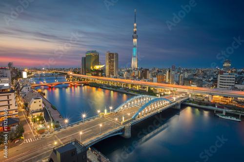 Plakat Tokio. Pejzaż miejski wizerunek Tokio linia horyzontu podczas zmierzchu w Japonia.