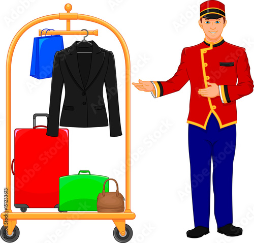 Fényképezés bellboy hotel service and Luggage trolley