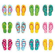 Set, Collection Of Summer Flip Flops With Different Patterns, Decoration Elements.