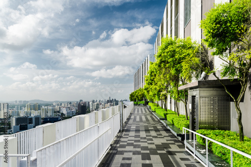 Amazing rooftop garden in Singapore. Outside terrace with park