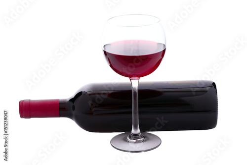 Fototapeta  Red Wine bottle and glass on white background