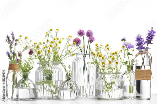 Fototapeta Bottle of essential oil with herbs obraz