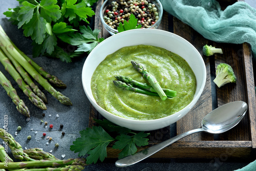 Asparagus cream soup, with broccoli and asparagus, vegan, vegetarian eating, dieting, healthy food