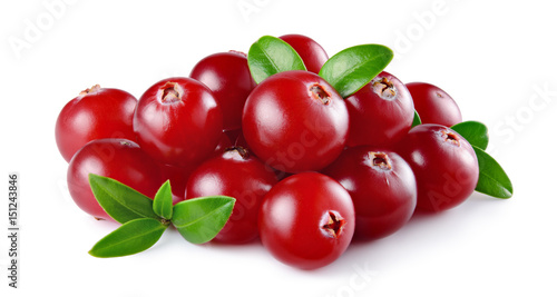Foto op Aluminium Vruchten Cranberry with leaves isolated on white background. Full depth of field.
