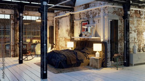 Bett In Altem Loft Apartment Sleeping Area In Old Loft Vintage