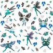 Winter fairy ballet. Seamless pattern with beautiful winged dancers, flowers, and leaves in cold tones.