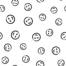 Round Smileys Painted With A Brush. Seamless Pattern.