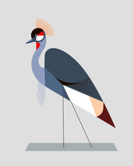 Plakat Image of a crowned crane in a geometric style