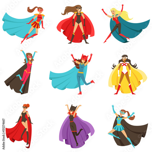 Fotografiet  Female Superheroes In Classic Comics Costumes With Capes Set Of Smiling Flat Car