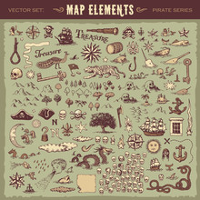 Vector Illustrated Set Of Various Vintage Map Elements
