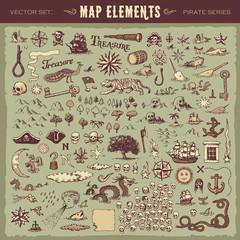 Vektor ilustrirani set različitih elemenata vintage karte