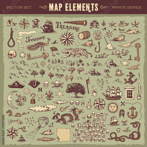 Valokuva  Vector illustrated set of various vintage map elements